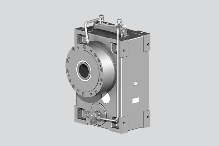 Extruder gearbox FEX with force-feed lubrication and external cooling
